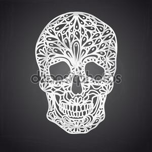 Векторные иллюстрации с ручной обращается черепа
