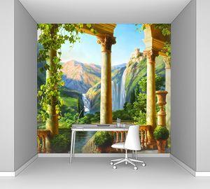 Вид с террасы на живописный водопад
