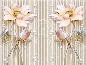 Светло-розовые и серые цветы на позолоченных стеблях