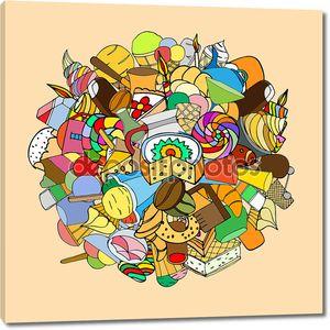 Набор конфет, рисованной, Векторный рисунок
