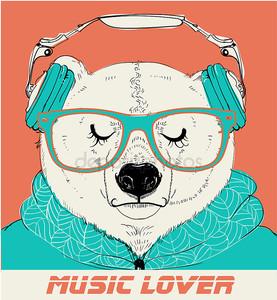 Полярный медведь с очками и наушниками