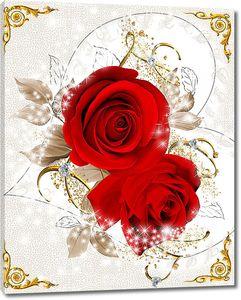 Розы в золотой витой рамочке