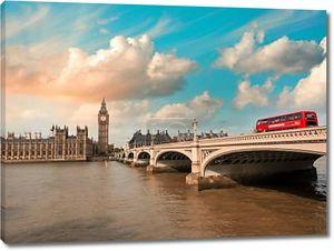 Вестминстерский мост и палаты парламента на закате, Лондон