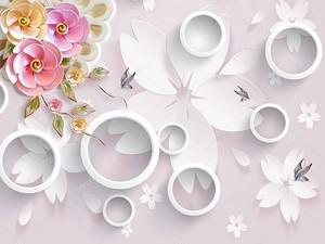 Светло-розовый фон с большими цветами  из белой бумаги