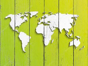 Карта мира на зеленой бумаге