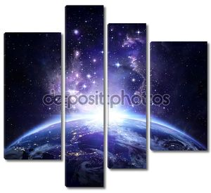 вид на землю от пространства ночью - США