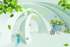 Зеленая арки, цветы в корзине
