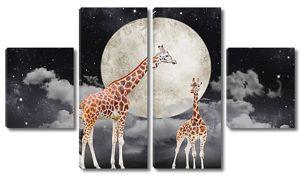 Жирафы и полная луна