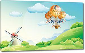 Корзина на шарах с мельницей