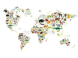 карта мира Мультфильм животных для детей и детей, животных со всего мира на белом фоне. Вектор