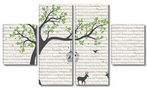 Дерево и олени  на кирпичной стене