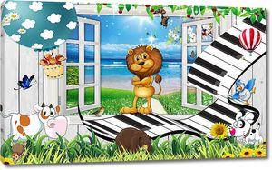 Лев на дорожке из клавиш у окна