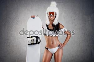 Сексуальная женщина сноубордист