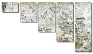Цветы с бусинами на старой стене
