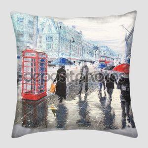 Иллюстрация людей с зонтиком, шел по улице Лондона