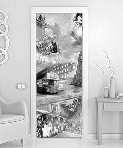 Черно-белый коллаж со старинной архитектурой