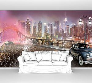 Ретро автомобиль на фоне ночного города