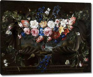 Хуан де Арельяно.  Гирлянда из цветов на картуше с пейзажем