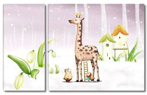 Жираф с подснежниками