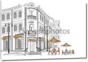 Серия старых улиц с кафе в эскизы