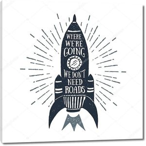 Рука нарисованные старинные этикетки с rocket векторные иллюстрации и вдохновляющие надписи.