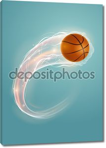 Баскетбольный мяч на голубом фоне