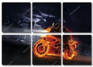 Пожарный мотоцикл с небоскребами на заднем плане