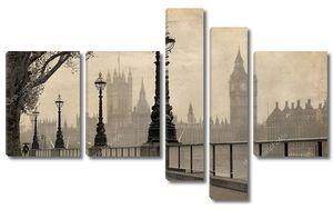 винтажный вид Лондон, Биг Бен и здание парламента