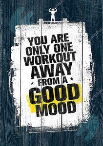 Ты только один тренировки от хорошее настроение. Мотивация цитаты, векторные иллюстрации