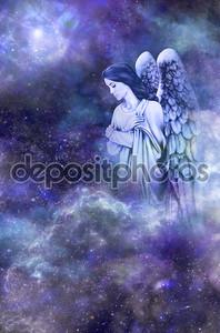 Ангел-хранитель на фоне космоса голубой