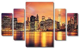 Манхэттен в центре Нью-Йорка на закате