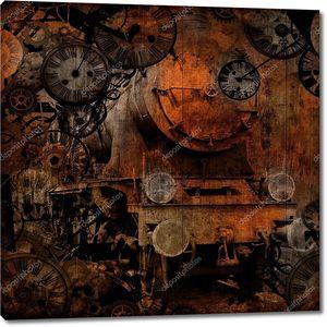 Grunge vintage steam locomotive time machine