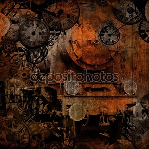 Grunge vintage steam locomotive time machine