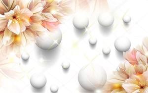 Белый фон с шарами, большие бежевые лилии