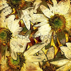 Искусство цветочный марочных Разноцветный фон