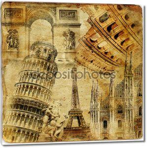 Путешествия фон - произведениями искусства в стиле ретро