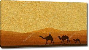 Караван с верблюдов в пустыне с горы на фоне. Векторные иллюстрации
