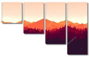 горы и Форрест пейзаж на закате