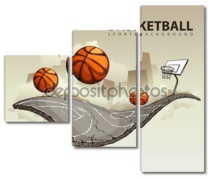 Векторная иллюстрация сюрреалистический баскетбольная площадка