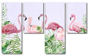Фламинго с растениями