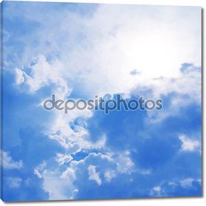 Голубое небо облачно Векторный фон