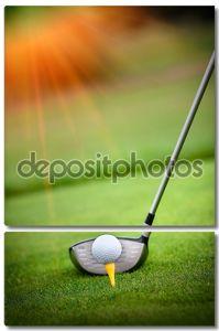 Макросъемки готовы ехать мяч гольф-клуб
