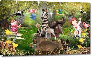 Мультяшные герои в сказочном лесу