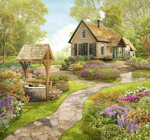 Колодец и дом  в саду