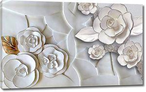 Цветы из хрупкой керамики с золотым листочком