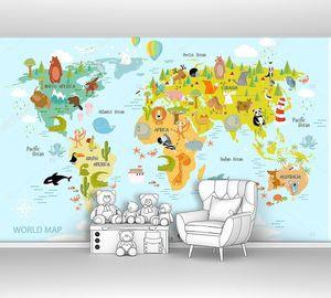 Карта мира с мультяшными животными