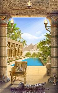 Вид из дома на бассейн и пирамиды