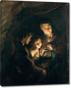 Рубенс. Старуха с корзиной угля. Ночная сцена