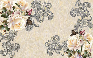 Розы с завитками