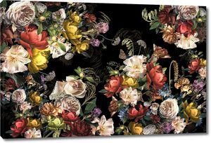 Розы на черном фоне
